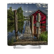 Fetsund Timber Booms part II Shower Curtain by Erik Brede