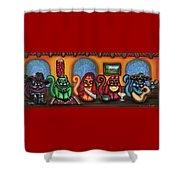 Fiesta Cats Or Gatos De Santa Fe Shower Curtain by Victoria De Almeida