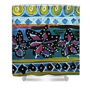 Fiesta In Blues- Abstract Pattern Painting Shower Curtain by Linda Woods