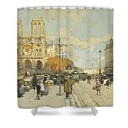 Figures On A Sunny Parisian Street Notre Dame At Left Shower Curtain by Eugene Galien-Laloue