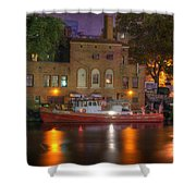 Fire Boat On Cuyahoga River Shower Curtain by Juli Scalzi