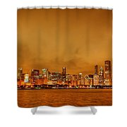 Fire In A Chicago Night Sky Shower Curtain by Ken Smith
