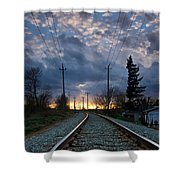 Fire On The Horizon Shower Curtain by Eti Reid