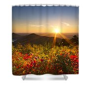 Fire on the Mountain Shower Curtain by Debra and Dave Vanderlaan