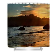 Fire Over Trinidad Beach Shower Curtain by Adam Jewell