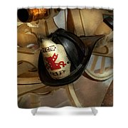 Firefighter - Somewhere To Hang Hat  Shower Curtain by Mike Savad