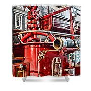 Fireman - Antique Brass Fire Hose Shower Curtain by Paul Ward