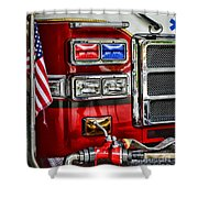 Fireman - Fire Engine Shower Curtain by Paul Ward