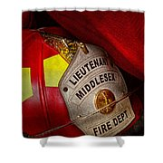 Fireman - Hat - Everyone Loves Red Shower Curtain by Mike Savad