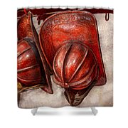Fireman - Hat - Old Fashioned Fire Hats Shower Curtain by Mike Savad