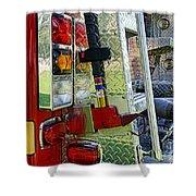 Fireman Keep Back 300 Feet Shower Curtain by Paul Ward