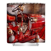 Fireman - Truck - Waiting For A Call Shower Curtain by Mike Savad