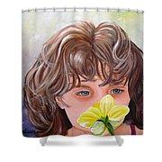 First Daffodil Shower Curtain by Carol Allen Anfinsen
