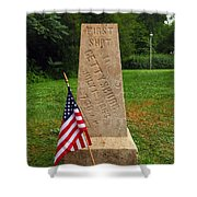 First Shot Monument Gettysburg Shower Curtain by James Brunker