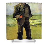 Fisherman On The Beach Shower Curtain by Vincent Van Gogh