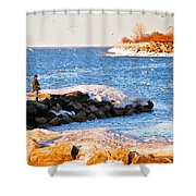Fishermans Cove Shower Curtain by Frozen in Time Fine Art Photography