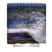 Fishing Beyond The Surf Shower Curtain by Terri Waters