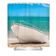 Fishing Boat On The Beach Algarve Portugal Shower Curtain by Amanda And Christopher Elwell