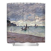 Fishing Boats In Front Of The Beach And Cliffs Of Pourville Shower Curtain by Claude Monet