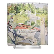 Fishing Shower Curtain by Carl Larsson