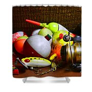 Fishing - Freshwater Tackle Shower Curtain by Paul Ward