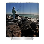 Fishing off the Jetty Shower Curtain by Paul Ward