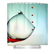 Fishing On A Glass Cup With Red Wine Droplets Little People On Food Shower Curtain by Paul Ge