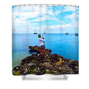 Fishing Paradise Shower Curtain by Carey Chen
