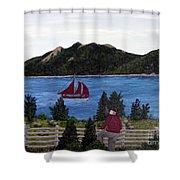 Fishing Schooner Shower Curtain by Barbara Griffin