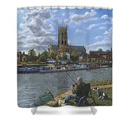 Fishing With Oscar - Doncaster Minster Shower Curtain by Richard Harpum