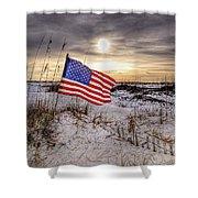 Flag On The Beach Shower Curtain by Michael Thomas