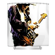 Flash Point     Stevie Ray Vaughan Shower Curtain by Iconic Images Art Gallery David Pucciarelli