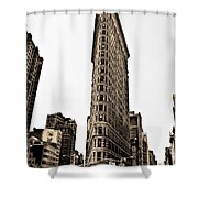 Flat Iron Building In Sepia Shower Curtain by Bill Cannon