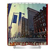Flat Iron Building Poster Shower Curtain by Nishanth Gopinathan