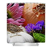Flavored With Onion And Garlic Shower Curtain by Sarah Loft