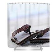 Flip-flops On Beach Shower Curtain by Elena Elisseeva