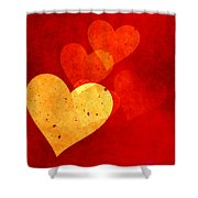 Floating Hearts Shower Curtain by Kurt Van Wagner