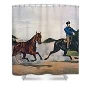 Flora Temple And Lancet Racing On The Centreville Course Shower Curtain by Currier and Ives