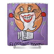 Flossing Tooth Shower Curtain by Anthony Falbo