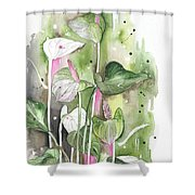 Flower Anthurium 04 Elena Yakubovich Shower Curtain by Elena Yakubovich