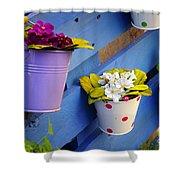 Flower Baskets Shower Curtain by Carlos Caetano