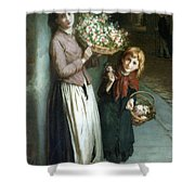 Flower Girls A Summer Night Shower Curtain by Augustus Edwin Mulready