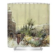 Flower Market Marche aux Fleurs Shower Curtain by Eugene Galien-Laloue