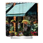 Flower Shop With Green Awnings Shower Curtain by Susan Savad