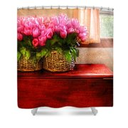 Flower - Tulips by a Window Shower Curtain by Mike Savad