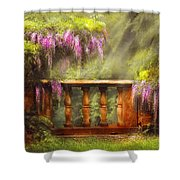 Flower - Wisteria - A lovers view Shower Curtain by Mike Savad