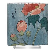 Flowering Poppies Tanzaku Shower Curtain by Ando Hiroshige