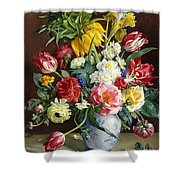 Flowers In A Blue And White Vase Shower Curtain by R Klausner