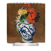 Flowers In A Blue Vase Shower Curtain by Odilon Redon