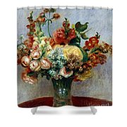Flowers In A Vase Shower Curtain by Pierre-Auguste Renoir